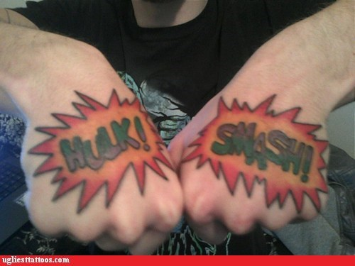 comic tattoos,hand tattoos,hulk smash