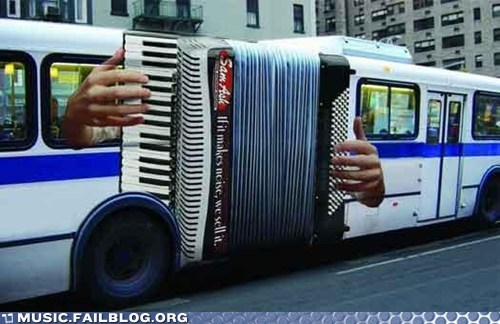 accordion,Ad,bus,public transportation