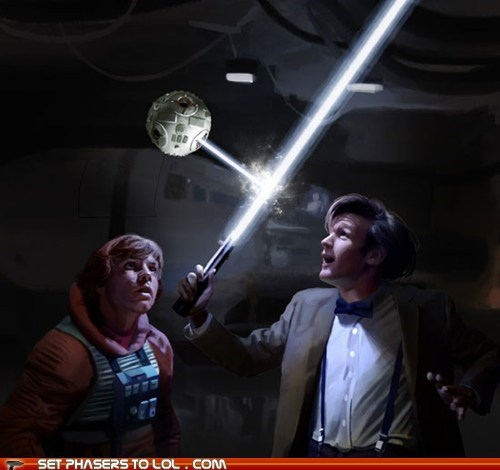best of the week,cool,crossover,doctor who,Jedi,lightsaber,luke skywalker,Mark Hamill,Matt Smith,star wars,the doctor