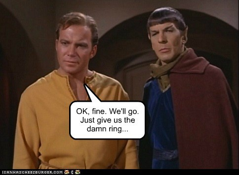 April Fools Day Captain Kirk fellowship fine Leonard Nimoy ring Shatnerday Spock Star Trek William Shatner