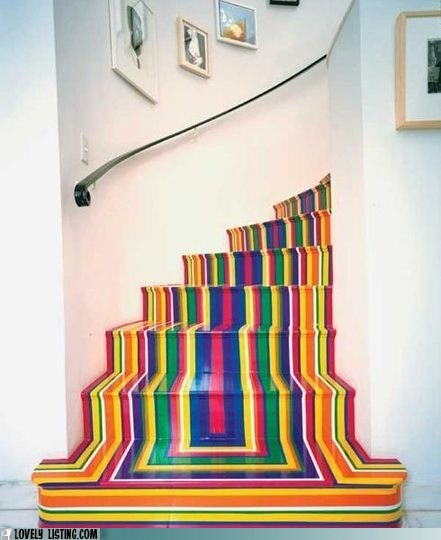 colorful,rainbow,stairs,stripes,tape