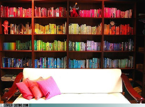 bookcase,books,color,organized,rainbow,shelves