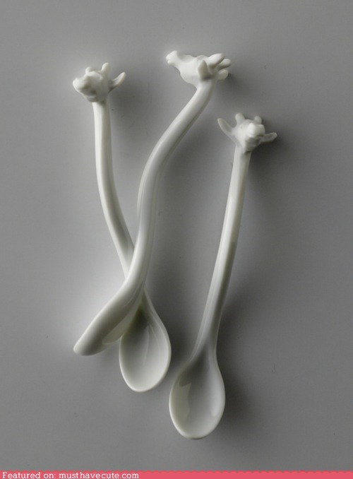 giraffes head neck spoons white - 5981526528
