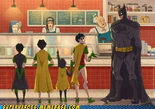 Awesome Art,batman,ice cream,kids,robin