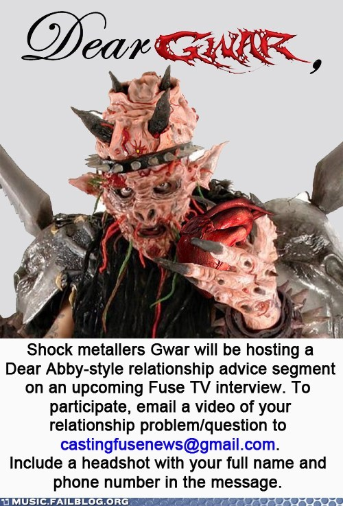 dating,dear abby,dear gwar,GWAR,metal,relationships,television,TV