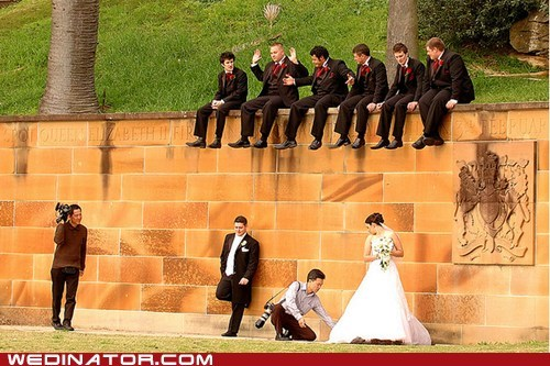 bride,funny wedding photos,groom,Groomsmen,photographer