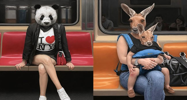 nyc people art head Subway animals - 5981957