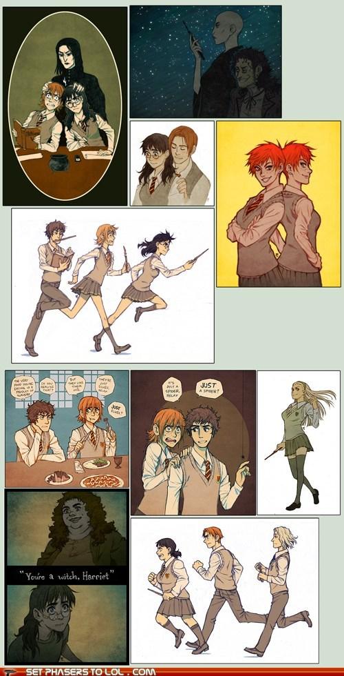best of the week Fan Art gender swap Hagrid harriet harry Harry Potter - 5982061568