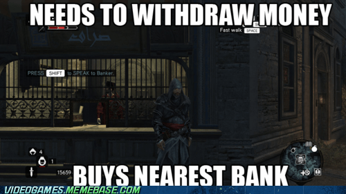 assassins creed,bank,investment,meme,the code