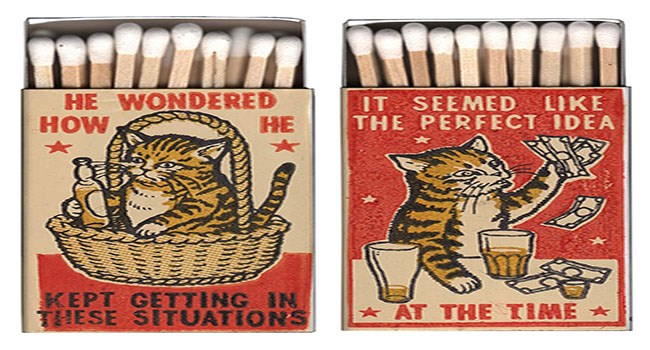 drunk cats on matchboxes