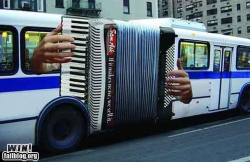 accordion,advertisement,bus,clever