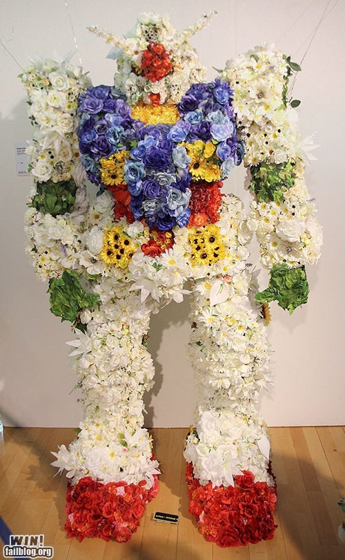 anime,bouquet,flowers,giant robot,gundam,nerdgasm