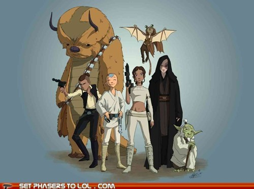 aang,appa,Avatar the Last Airbender,best of the week,chewbacca,katara,luke skywalker,obi-wan kenobi,Princess Leia,sokka,star wars,yoda