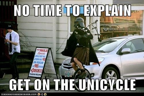 bagpipes,darth vader,no time to explain,portland,star wars,unicycle