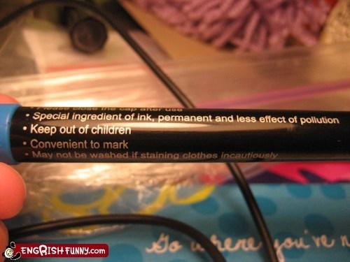 children engrish pen stick in warning - 5983170304