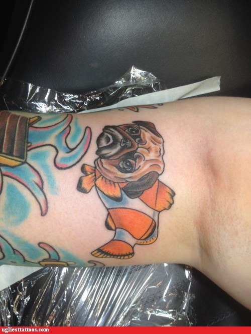 animal tattoos,pugfish,science has gone too far