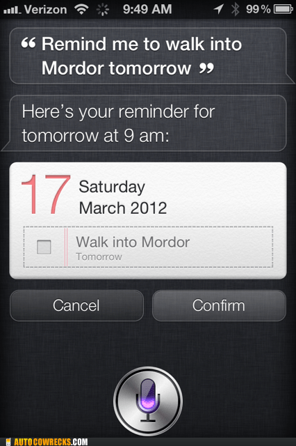 Lord of the Rings mordor one does not simply walk into mordor siri - 5984707328