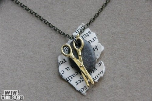 clever,design,necklace,rock paper scissors