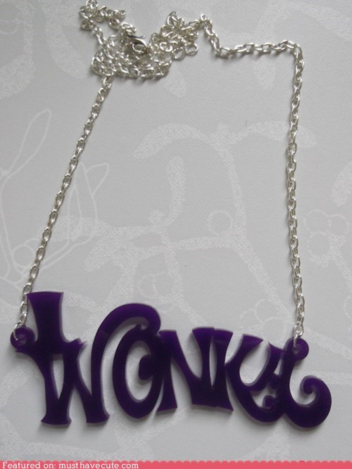 acrylic chain Jewelry laser cut necklace pendant wonka - 5985285120