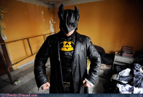 batman,beat up,costume,lame,low tech,messy