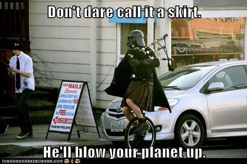 blow up planet,darth vader,dont-you-dare,kilt,portland,skirt,star wars
