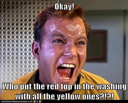 colors laundry read shirt Shatnerday Star Trek washing William Shatner yellow - 5985779200