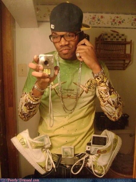 bills,Bling,chains,gangsta,mirror picture,phone,pockets,shoes,smart phone