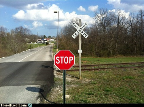 railroad stop sign train track - 5987115776