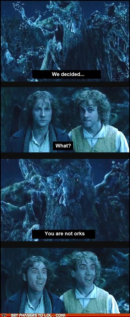 billy boyd dominic monaghan ent Lord of the Rings merry nicolas cage pippin took treebeard you dont say - 5987192320