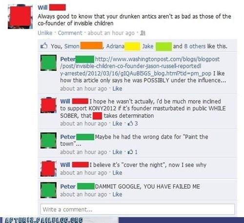 broner,drinking,facebook,Kony,kony2012