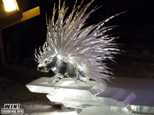 design,ice,porcupine,sculpture,statue