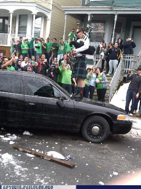 bagpipes,car,carnage,Party,riot,St Patrick's Day