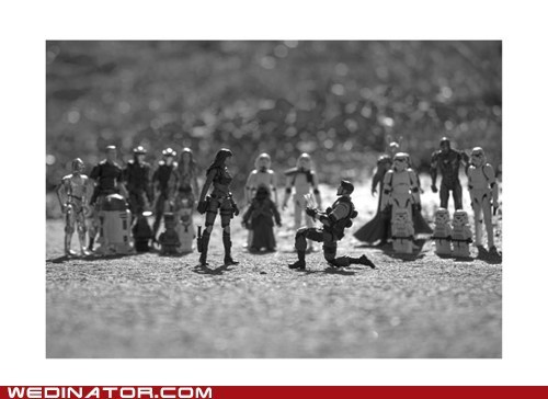action figures,funny wedding photos,geek,proposal,star wars