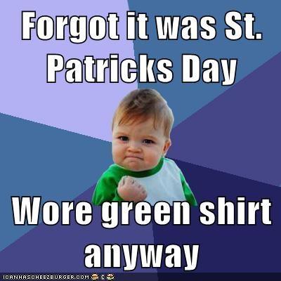 green shirt St Patrick's Day success kid - 5989972736