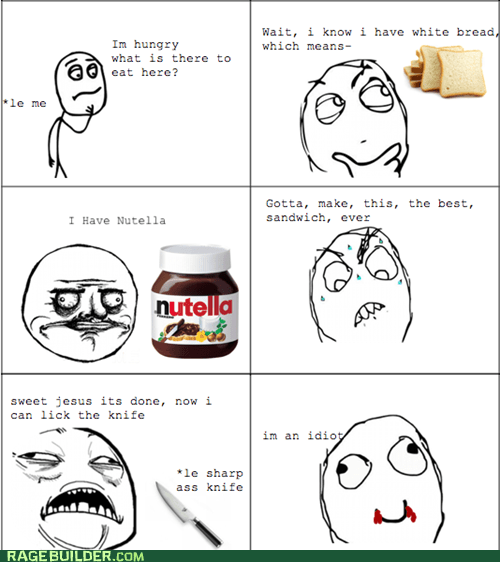 cut,nutella,ouch,Rage Comics,sandwich