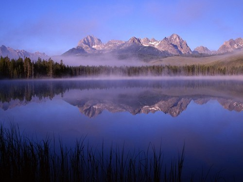 Morning fog at Little Redfish Lake Idaho