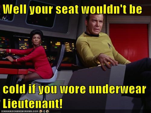 April Fools Day Captain Kirk inappropriate Nichelle Nichols Shatnerday Star Trek uhura underwear William Shatner - 5993878016