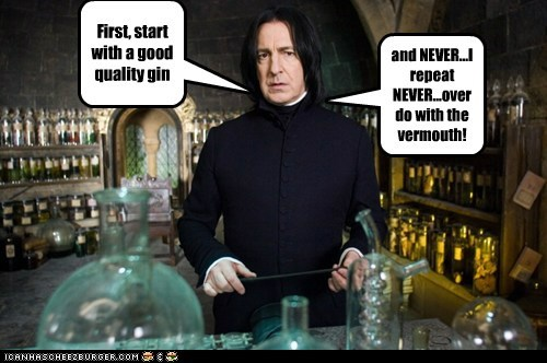 Alan Rickman bartending class gin Harry Potter martini potions Severus Snape vermouth - 5994569728