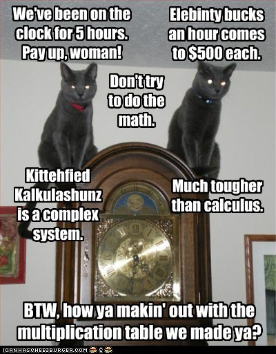 We've been on the clock for 5 hours. Pay up, woman! Elebinty bucks an hour comes to $500 each. Don't try to do the math. Much tougher than calculus. BTW, how ya makin' out with the multiplication table we made ya? Kittehfied Kalkulashunz is a complex system.