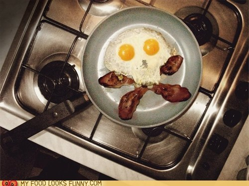 bacon,breakfast,crossbones,eggs,pan,skull