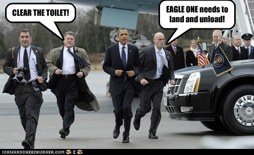 CLEAR THE TOILET! EAGLE ONE needs to land and unload!