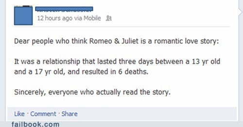 failbook,Featured Fail,g rated,relationships,romeo and juliet,shakespeare