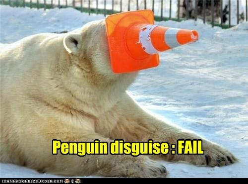 camouflage,cone,disguise,face,hide,nose,penguin,polar bear