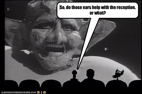 alien,comments,crow,ears,mike nelson,mst3k,Mystery Science Theatre,reception,riffs,tom servo