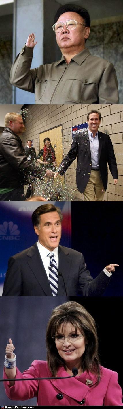 Kim Jong-Il,Mitt Romney,political pictures,Rick Santorum,Sarah Palin