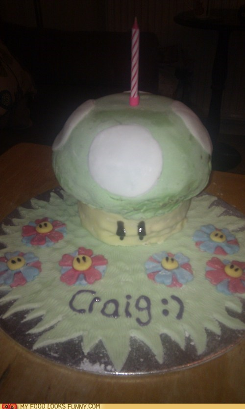 1up,bandle,birthday,cake,craig,mario,mushroom,video game
