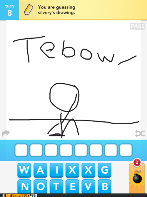 draw something,football,peyton manning,sports,tebow,tim tebow