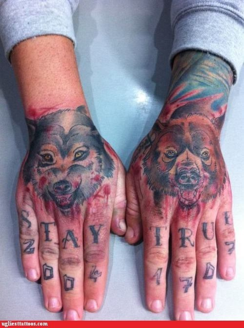 animals,bear,hand tattoos,oh god why,stay true,wolf