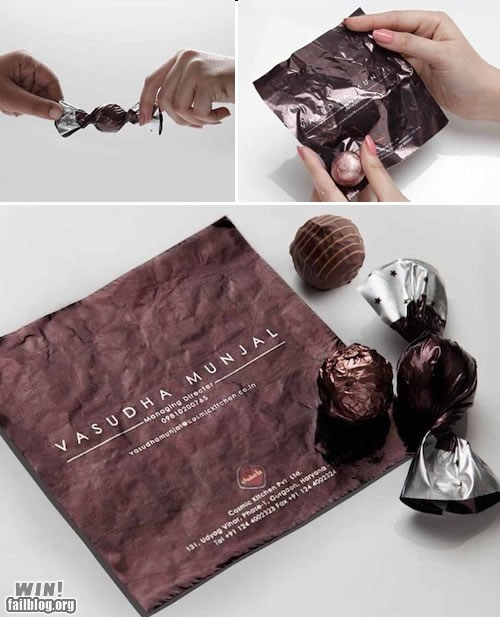 business card,chocolate,clever,design