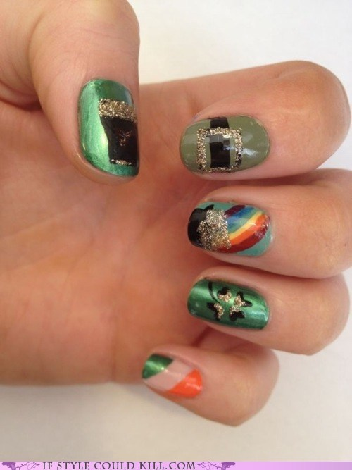 cool accessories,nail art,nails,St Patrick's Day